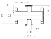 4-way reducing cross fixed - stainless steel